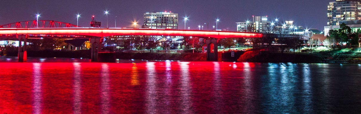 Lighted Bridge over Arkansas River