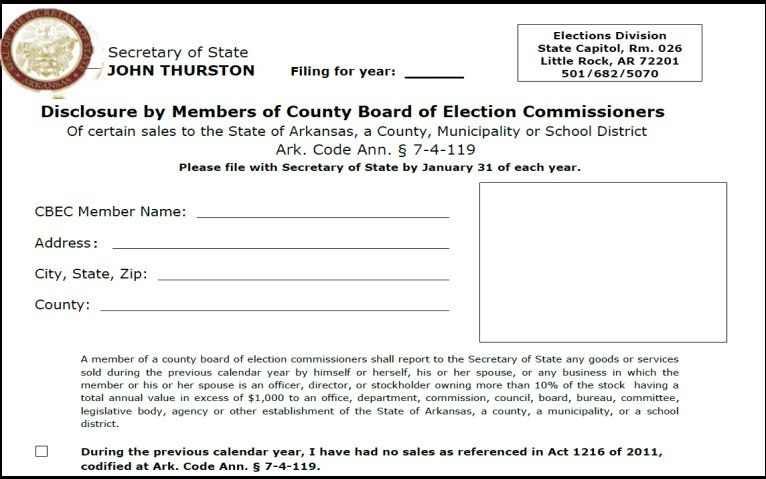 Click picture for Disclosure by Member of a County Board of Election Commissioners